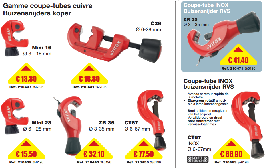 Gamme coupe tubes cuivre